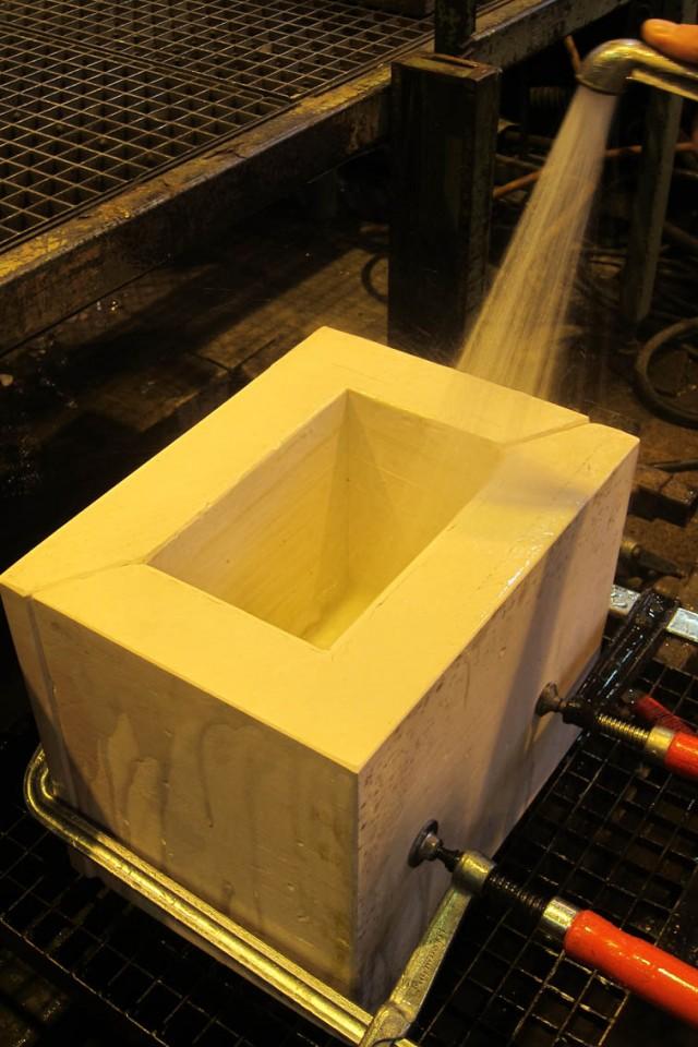 the wet plaster mold