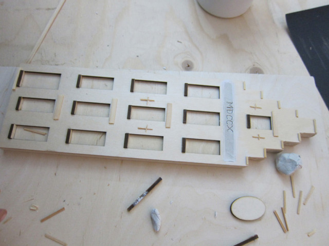 Wooden facade in making